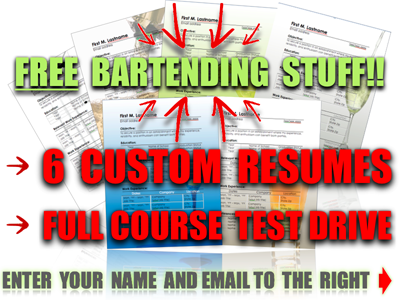 Free Bartender Resumes | The Bartending Blueprint